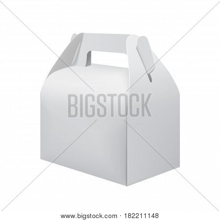 White cardboard carry box for food isolated on white background vector illustration. Packaging design element for branding.