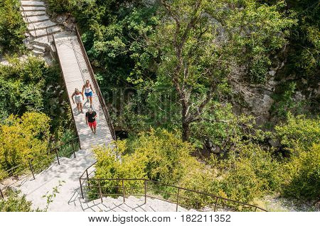 Verdon, France - June 29, 2015: People Travelling, Walking On Stone Steps Trail, Path, Way, Mountain Road In Verdon Gorge In France. Scenic View