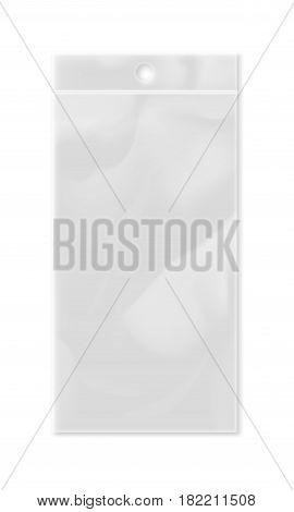Realistic plastic pocket bag isolated on white background vector illustration. Packaging design element