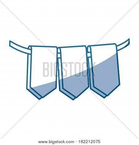 blue color silhouette set decorative pennants celebration vector illustration