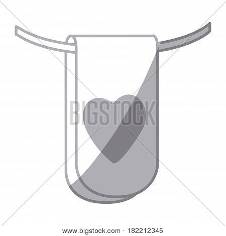 gray scale silhouette flag in a rope for decoration with heart shape inside vector illustration