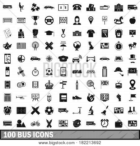 100 bus icons set in simple style for any design vector illustration