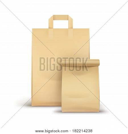 Vector Set of Blank Brown Craft Paper Cardboard Take Away Handle Lunch Bags Packaging For Sandwich Food Gift Other Products Mock up Close up Isolated on White Background.