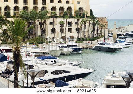 Yachts moored at Portomaso Marina in St. Julian Malta