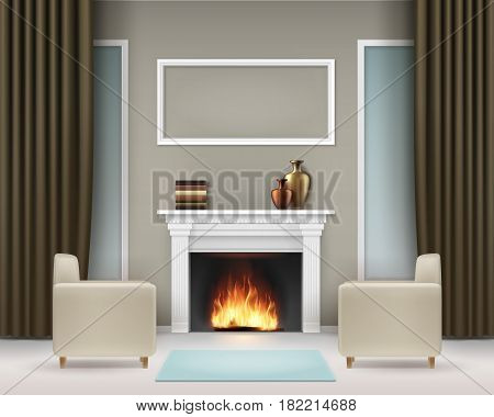 Vector living room interior with white fireplace, books, vases, photo frame, windows, brown khaki curtains, two beige armchairs and blue carpet