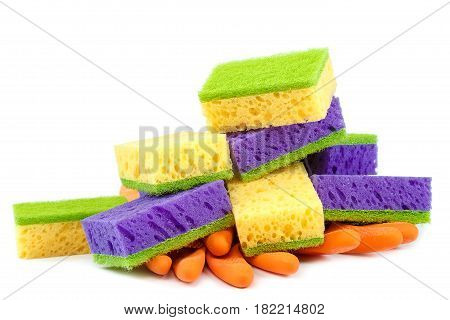 Rubber gloves with sponges isolated on white background.