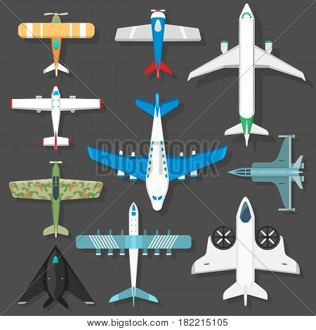 Color airplanes icons top view vector illustration isolated. Travel by air flight vacation transport passenger plane. Turbine voyage pilot jet.