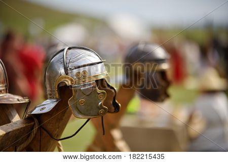 old warrior equipment at Dac Fest from Magura Uroiului, Romania