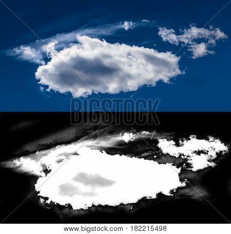 White cloud cut-out mask. Closeup blue sky
