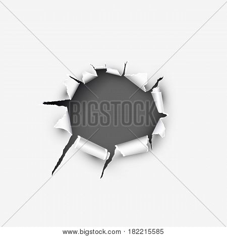 Round frame with ripped paper vector illustration isolated on white background.