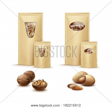 Vector blank sealed foil, plastic bags full of shelled walnuts and almonds side view isolated on white background