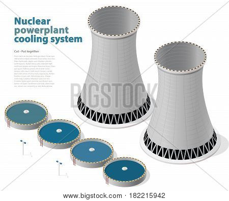 Vector isometric cooling system of nuclear power plant, isolated on white background. Cooling tower of power station. Concrete thermal power plant tower with street lamps. Industrial architecture.