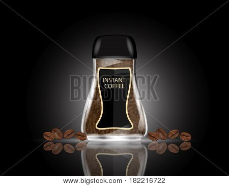Coffee Glass Jar with Instant Coffee Granules and Coffee Beans Isolated on Black Background. Vector Illustration.