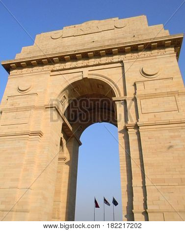 Sculptural details of the India Gate arch in New Delhi India