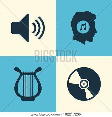 Multimedia Icons Set. Collection Of Cd, Meloman, Lyre And Other Elements. Also Includes Symbols Such As Meloman, Lover, Speaker.