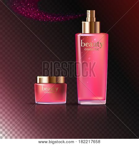 Beauty cosmetic product pink rose cream and spray ads package or liquid. 3D vector illustration on dark transparent background isolated. stock vector.