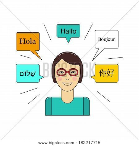 Learn language concept with young girl in glasses vector illustration isolated on white background. Foreign language study icon in flat design