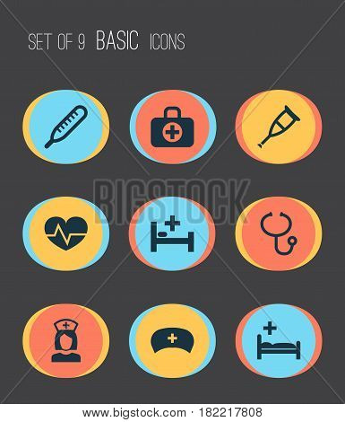 Antibiotic Icons Set. Collection Of Mercury, Tent, Review And Other Elements. Also Includes Symbols Such As Bed, Surgical, Health.
