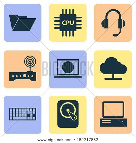 Computer Icons Set. Collection Of Hdd, Earphone, Motherboard And Other Elements. Also Includes Symbols Such As Keypad, Web, Hard.