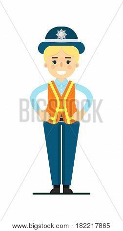 Police woman in uniform vector illustration isolated on white background. Police officer or cop character in flat design.