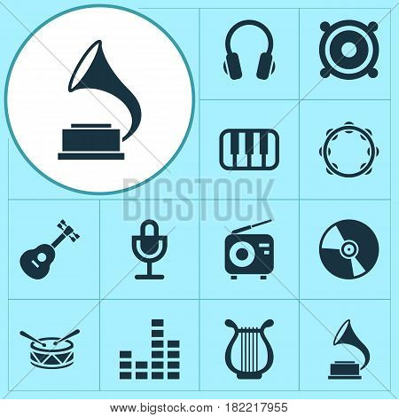 Multimedia Icons Set. Collection Of Octave, Mike, Lyre And Other Elements. Also Includes Symbols Such As Speaker, Piano, Guitar.