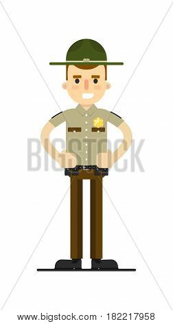 American sheriff in uniform vector illustration isolated on white background. Police officer or cop character in flat design.