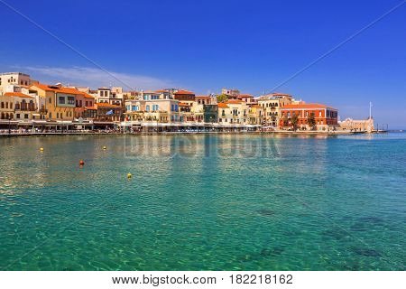 Old Venetian port of Chania on Crete, Greece