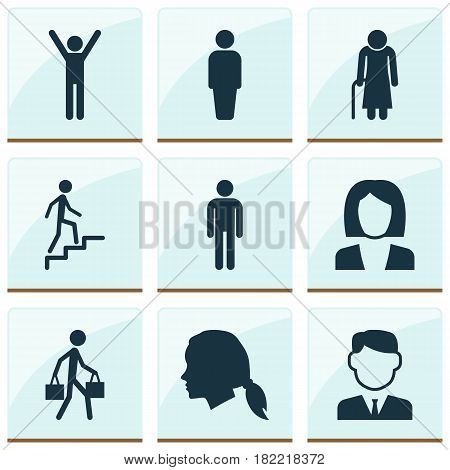Human Icons Set. Collection Of Delivery Person, Happy, Gentleman And Other Elements. Also Includes Symbols Such As Female, Gentleman, Businesswoman.