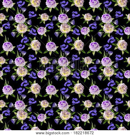 Beautiful floral seamless pattern with bouquets of white lilies two-color eustoma flowers and Greek valerian in victorian style on a black background