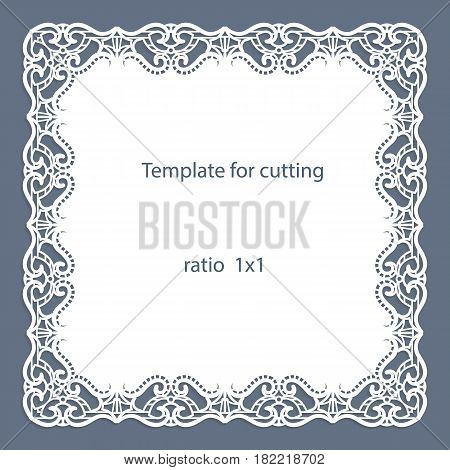 Greeting card with openwork border paper doily under the cake template for cutting wedding invitation decorative plate is laser cut vector illustrations.