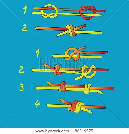 Fisherman`s knot and Double Fisherman`s knot; steps of makeing