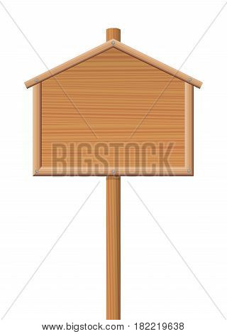 Sign posts - wooden house, lodge or cottage shaped board - for sale sign, direction sign or any other display board. Isolated vector illustration on white background.