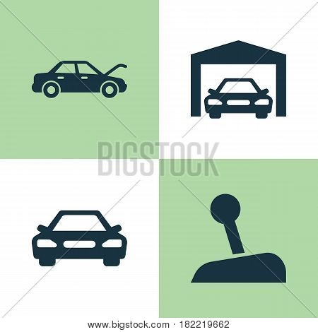 Automobile Icons Set. Collection Of Fixing, Stick, Auto And Other Elements. Also Includes Symbols Such As Repairing, Auto, Gear.