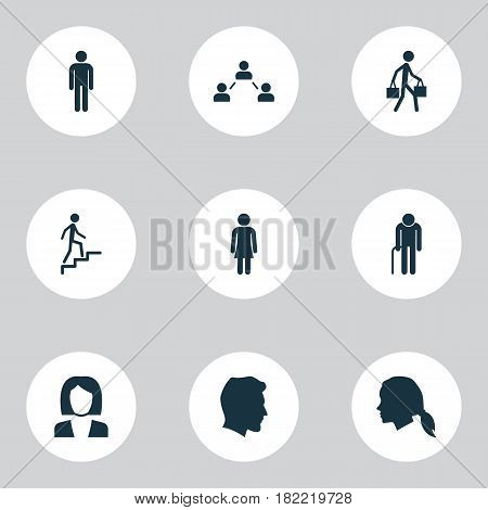 People Icons Set. Collection Of Delivery Person, Network, Ladder And Other Elements. Also Includes Symbols Such As Man, Old, Gentlewoman.