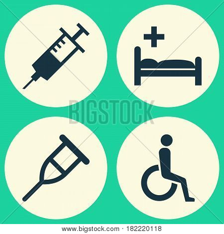 Medicine Icons Set. Collection Of Polyclinic, Injection, Handicapped Elements. Also Includes Symbols Such As Stethoscope, Nurse, Stand.