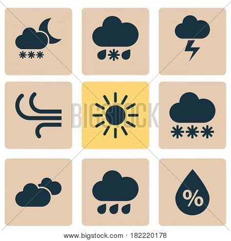 Nature Icons Set. Collection Of Wet, Moisture, Weather And Other Elements. Also Includes Symbols Such As Weather, Cloud, Humidity.