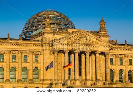 Reichstag Building At Sunset, Berlin, Germany