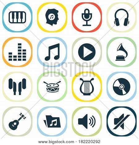 Music Icons Set. Collection Of Earmuff, Music, Equalizer And Other Elements. Also Includes Symbols Such As Note, Earmuff, Vinyl.