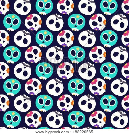 Skull with flowers moustaches and luchador mask. Seamless pattern with flat design of skulls on the dark background. Vector illustration