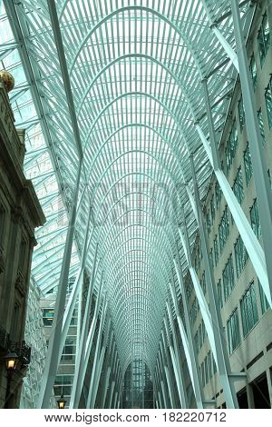 TORONTO, CANADA, APRIL 10, 2017:  Allen Lambert Galleria, designed by Santiago Calatrava is the result of an international competition and heavily featured in movie and tv show.