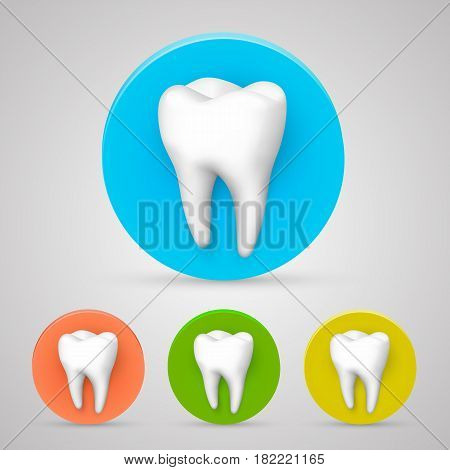 Tooth set color collection, template design element . Vector illustration
