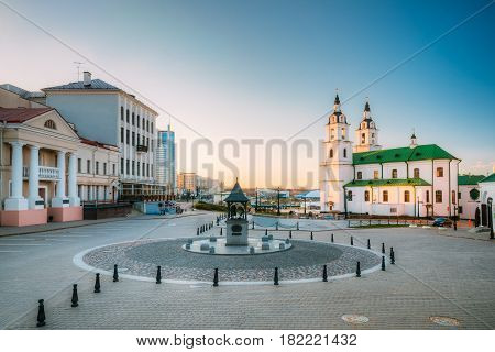 Minsk, Belarus. Cathedral Of Holy Spirit In Minsk - Main Orthodox Church Of Belarus And Symbol Of Old Minsk. Famous Landmark