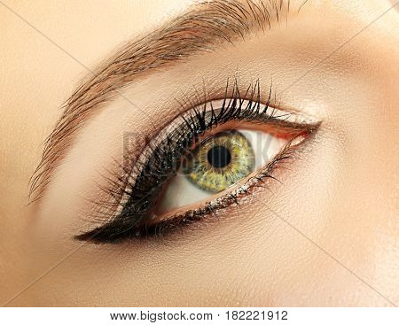 Beautiful makeup with eyeliner, closeup