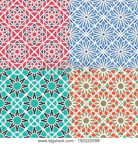 Seamless textures with color arabic geometric ornaments. Vector set of patterns