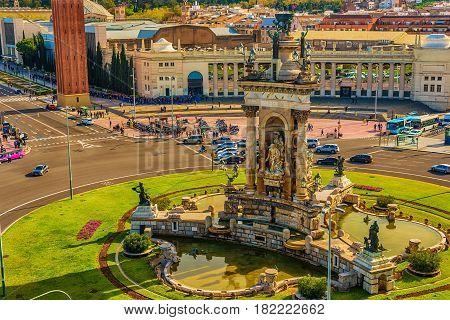 Aerial top view of Barcelona, Catalonia, Spain in the spring. Placa d'Espanya, Plaza de Espana, the Spanish Square.