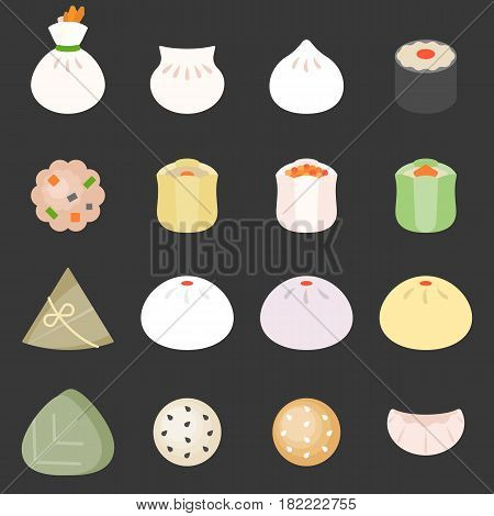 Dim sum cantonese food, such as bun, rice dumpling, sticky rice wrapped in lotus leaf, pork dumpling and beef ball, flat design icon