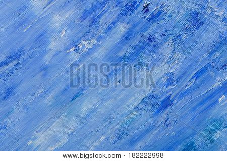Abstract blue oil pant texture on canvas, hand painted background, artwork, modern art