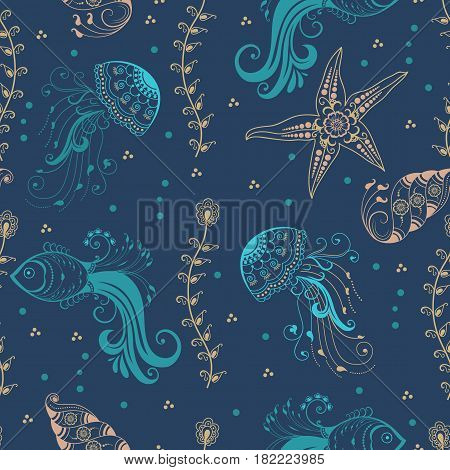 Vector abstract pattern element with marine creatures in indian mehndi style. Abstract henna floral vector illustration.