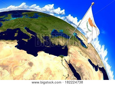 Cyprus national flag marking the country location on world map. 3D rendering, parts of this image furnished by NASA