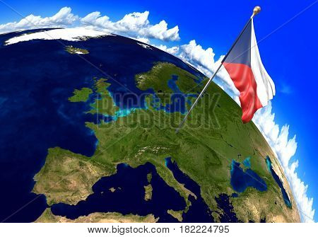 Czech Republic national flag marking the country location on world map. 3D rendering, parts of this image furnished by NASA